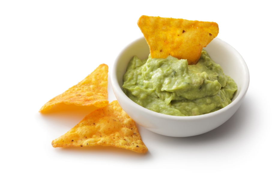 TexMex Food: Nacho Chips and Guacamole Isolated on White Background