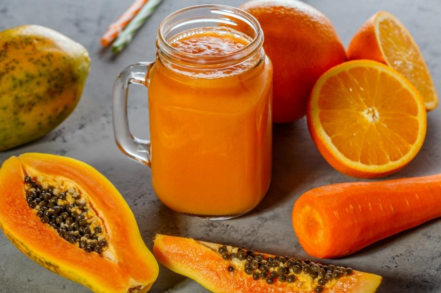 Papaya smoothie, selective focus. Detox, diet food.